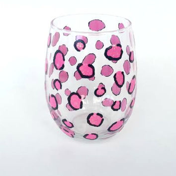 Pink Cheetah hand-painted stemless wine glass