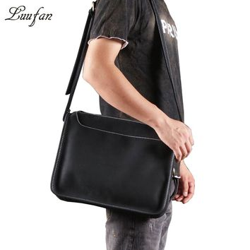 Men's Vintage Genuine leather shoulder bag with iPad front pocket Vintage crazy horse leather messenger bag