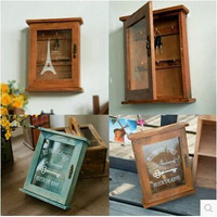Storage Vintage Wooden Glass Cosmetic Jewelry Home Decor [11133552908]