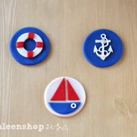 Nautical theme fondant cupcake toppers