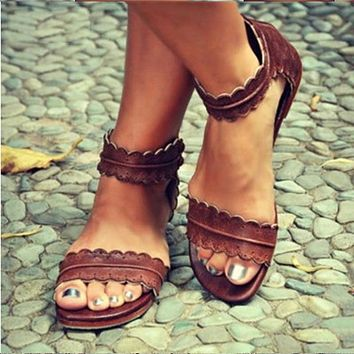 Women Sandals Summer Shoes Woman Classics Peep Toe Flats Sandals Zip Pu Leather Sandals For Women Casual Shoes
