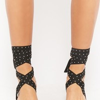 Qupid Studded Wraparound Heels