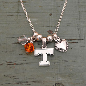 Tennessee Volunteers Crystal Bead Duo, Heart & Logo Charms Necklace