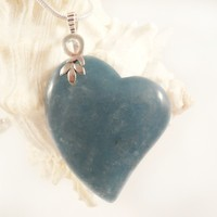 Blue Angelite, Heart, Pendant, Jewelry