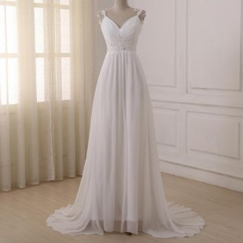 Beach Wedding Dress Spaghetti Straps Chiffon Wedding Gowns Bridal Dresses