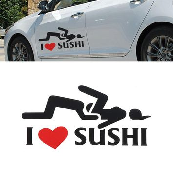 I Love Sushi Decal Funny Vinyl Sticker Universal Car Motorcycle Accessories Decorative Car Stying