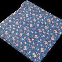 "Vintage Blue Pink Rose Fabric 44""x75.5"" Floral Pattern Butterfly Drapery Fabric Retro Quilting Sewing Fabric Material Textiles Crafting"