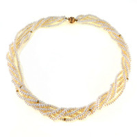 Multi Strand Cultured Pearl Torsade Necklace 14k Gold Clasp and Accents