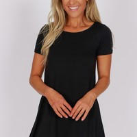 Rounded Neck T-Shirt Dress Black