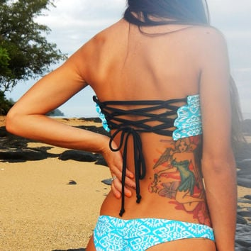 Black Friday Sale- Free Shipping- Peek-a-Boob Bandeau Top with corset back -Turquoise Tribal