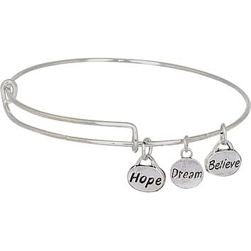 Stainless Steel Wire Bangle with Metal Charms Hope Dream Believe