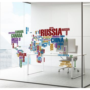 Wall Decal Map World Atlas Country Names Interior Decor zc028