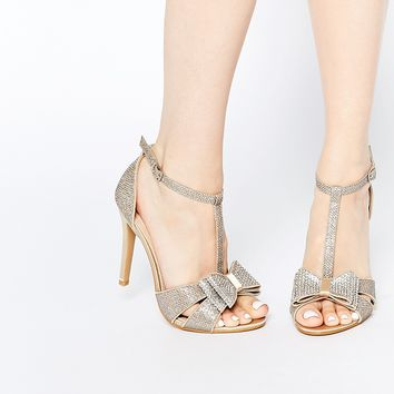 True Decadence Gold Glitter Bow Detail Heeled Sandals at asos.com