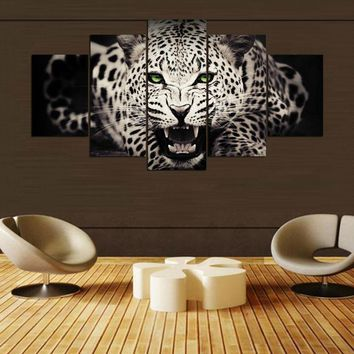 5 Panel Piece Leopard Print For Living Room Modern Wall Art Canvas Picture