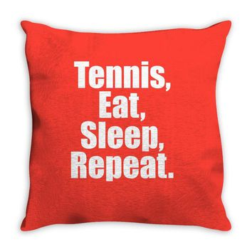 Eat Sleep Tennis Repeat Throw Pillow