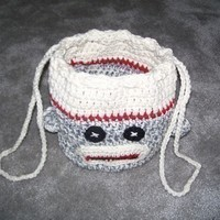 Crochet Sock Monkey Drawstring Bag Pattern