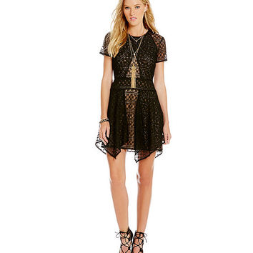 BCBGMAXAZRIA Ailleen Lace Panel Dress | Dillards