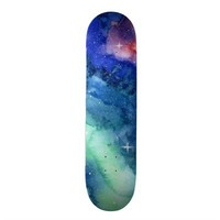 Space Watercolor Art Skateboard from Zazzle.com