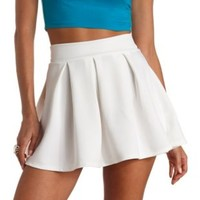Box-Pleated High-Waisted Skater Skirt by Charlotte Russe - Ivory