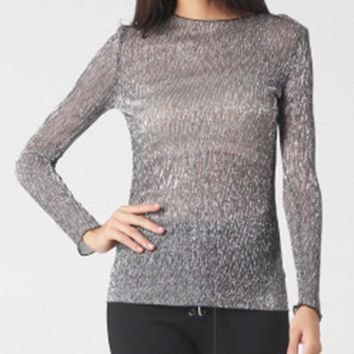 Streetstyle  Casual Boat Neck See-Through Long Sleeve T-Shirt