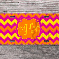 Monogrammed License Plate - Summer chevron - Hot pink, Yellow and Orange monogrammed chevron, custom name or initials - 271