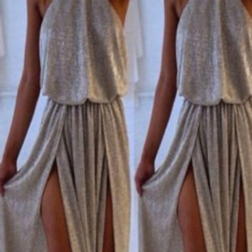 Gray Sleeveless Maxi Dress