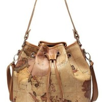 Nucelle Leather Drape Map Print Shoulder Handbag Bucket Bag Satchel Beige