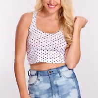 White Black Polka Dot Crop Top