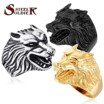 Steel soldier Drop Ship Fashion Jewelry Super Cool Wolf Rings Stainless Steel Punk Biker Man Ring BR8-075
