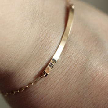 Engravable Bar Custom Bracelet Gold or Sterling Silver, Inspired by the Bar Necklace, Valentine's Bridesmaid gift