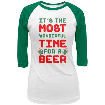 Christmas Most Wonderful Time for a Beer Juniors 3/4 Raglan T Shirt