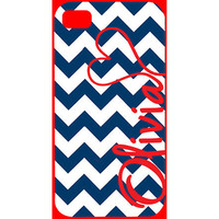 Red White and Blue Chevron Monogrammed iPhone Case - nautical, sailor mom, presidents day, independence day, america, patriotic, nautical
