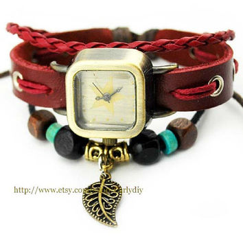 Leaf leather watches, men's watches, women wrist watch, hanmade watches, antique watch, quartz watch