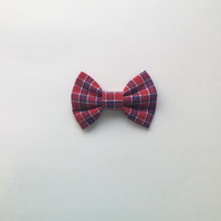 Red, white, & blue plaid Hairbow, Lumberjack Hairbow, Fourth of July Hair Bow, Plaid Teens Bow, Summer Hairbow