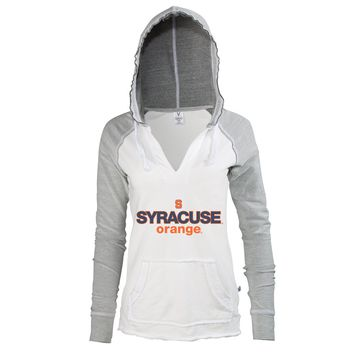 Official NCAA Syracuse Orange SU Otto the Orange DOWN THE FIELD! Women's V-Neck Baseball Sweatshirt