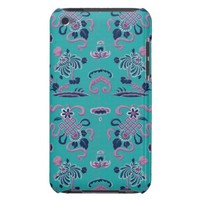 Purple Shapes and Flowers on Teal iPod Case-Mate Case