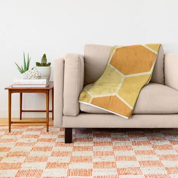 Yellow Honeycomb Throw Blanket by spaceandlines