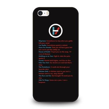 LYRICS OF TWENTY ONE PILOTS iPhone SE Case Cover