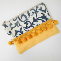 Zipped Pouch in Moroccan Inspired Blue & White Print with Yellow Details and Pom Poms - Makeup Bag - Pencil Case - Bag Organiser - Clutch