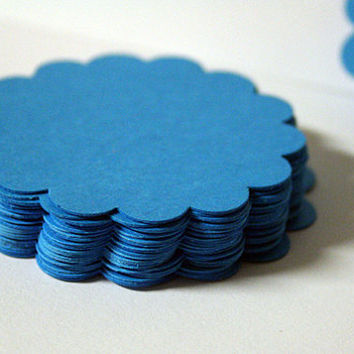 50 - Bright BLUE - Hand punched Scalloped Circles 2.25 inches - crafting, tags, scrapbooking