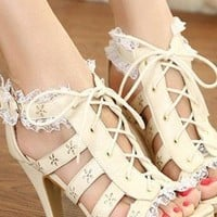 Ladies Fashion High Heel Strap Cut Out Shoes In BEIGE from NaomiShu