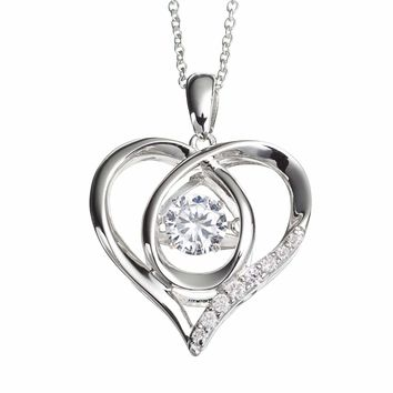 Floating DiamonLuxe 3 4 Carat T.W. Simulated Diamond Sterling Silver Heart Pendant  Necklace 179365c771