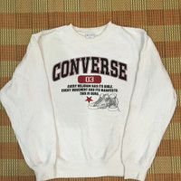 Vintage 90s CONVERSE All Star Sweatshirt White Pullover Sweater Sport Hip Hop Adult Size M #M14