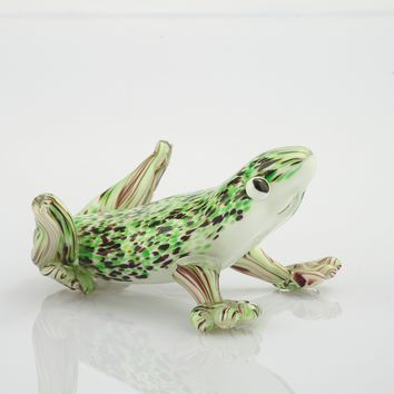 Hand-Blown Glass Green Frog