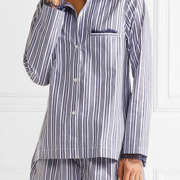 Skin - Lace-trimmed striped cotton pajama set