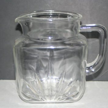 Vintage Glass Pitcher With Star On bottom,Collectible Vintage,Castawayacres