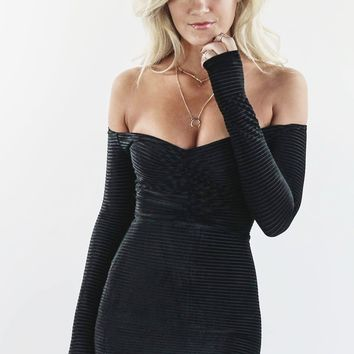 Going Solo Off Shoulder Long Sleeve Black Velvet Mini Dress
