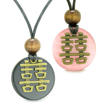 Double Happiness Love Couples Yin Yang Fortune Amulets Agate Pink Simulated Cats Eye Medallion Necklaces