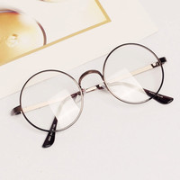 Women Men Retro Round Metal Frame Clear Lens Glasses Nerd Spectacles Eyeglass