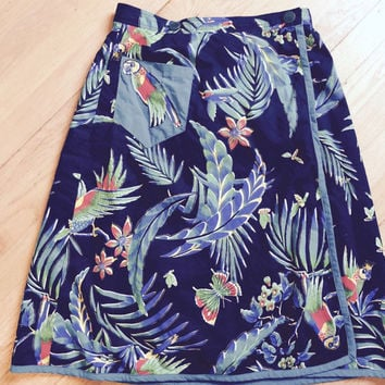 Vintage 1950's Womens Summer Black Wrap Around With Parrot & Floral Beach Skirt